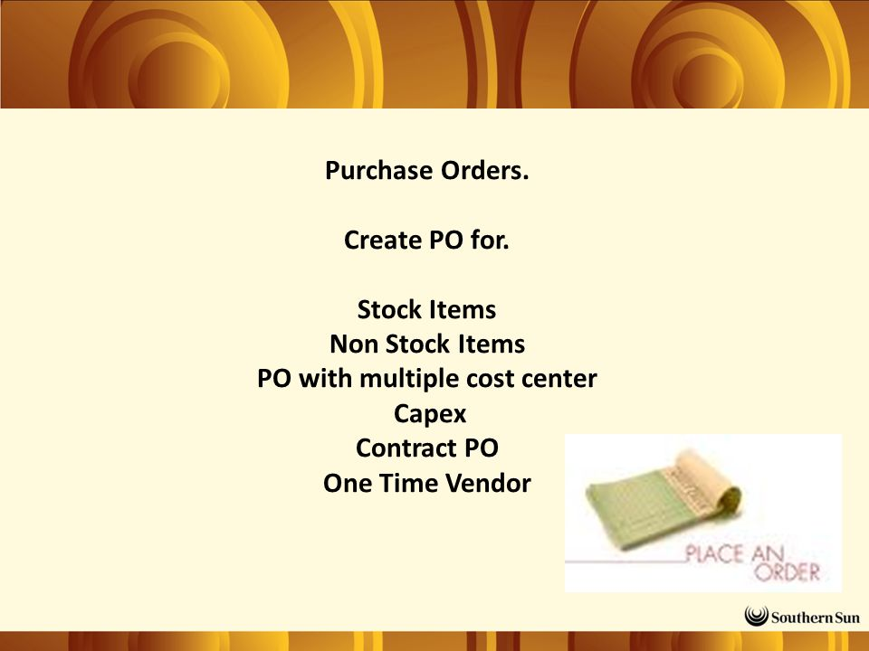 Purchase Orders. Create PO for