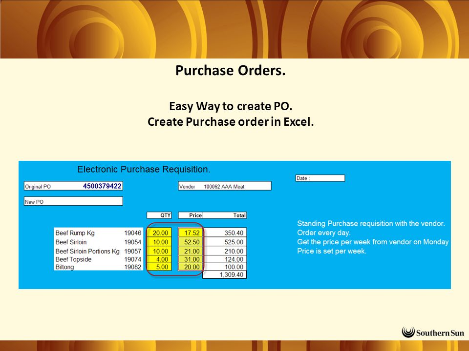 Purchase Orders. Easy Way to create PO. Create Purchase order in Excel.