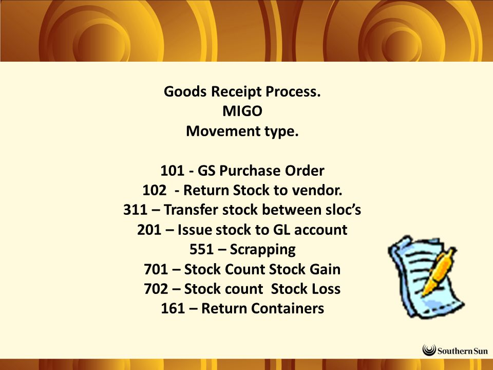 Goods Receipt Process. MIGO Movement type