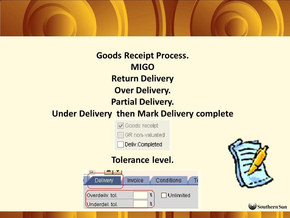 Goods Receipt Process. MIGO Return Delivery Over Delivery