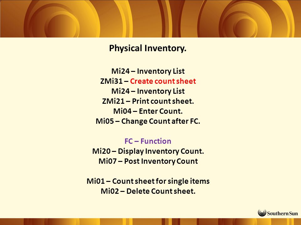 Physical Inventory.