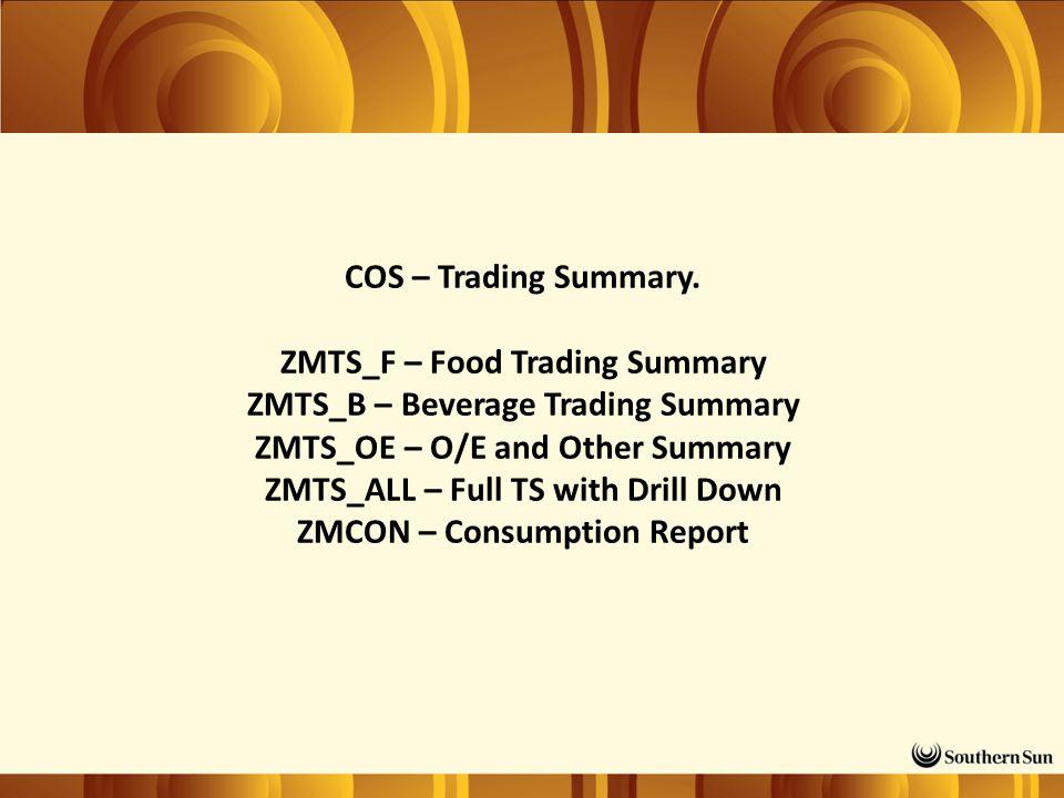 COS – Trading Summary.