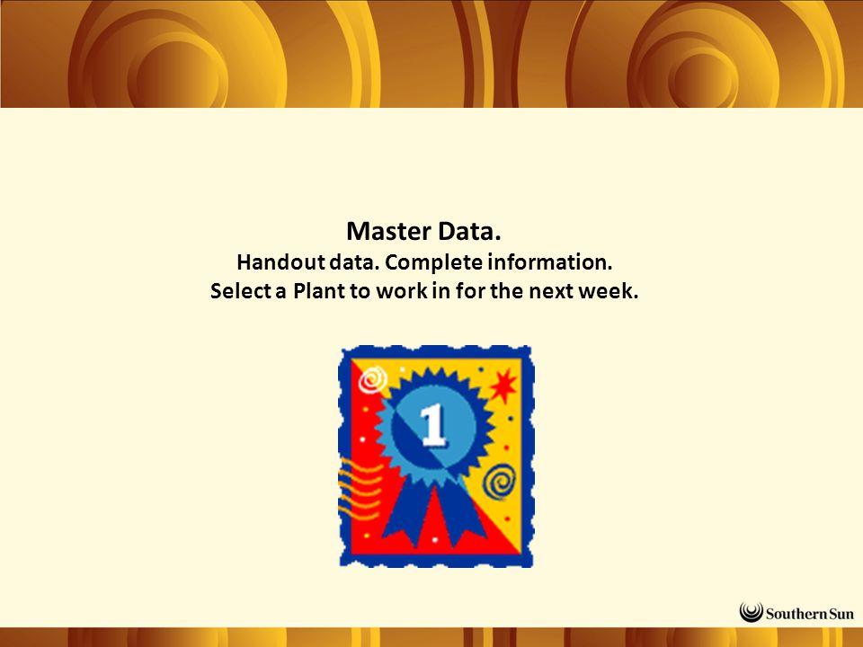 Master Data. Handout data. Complete information