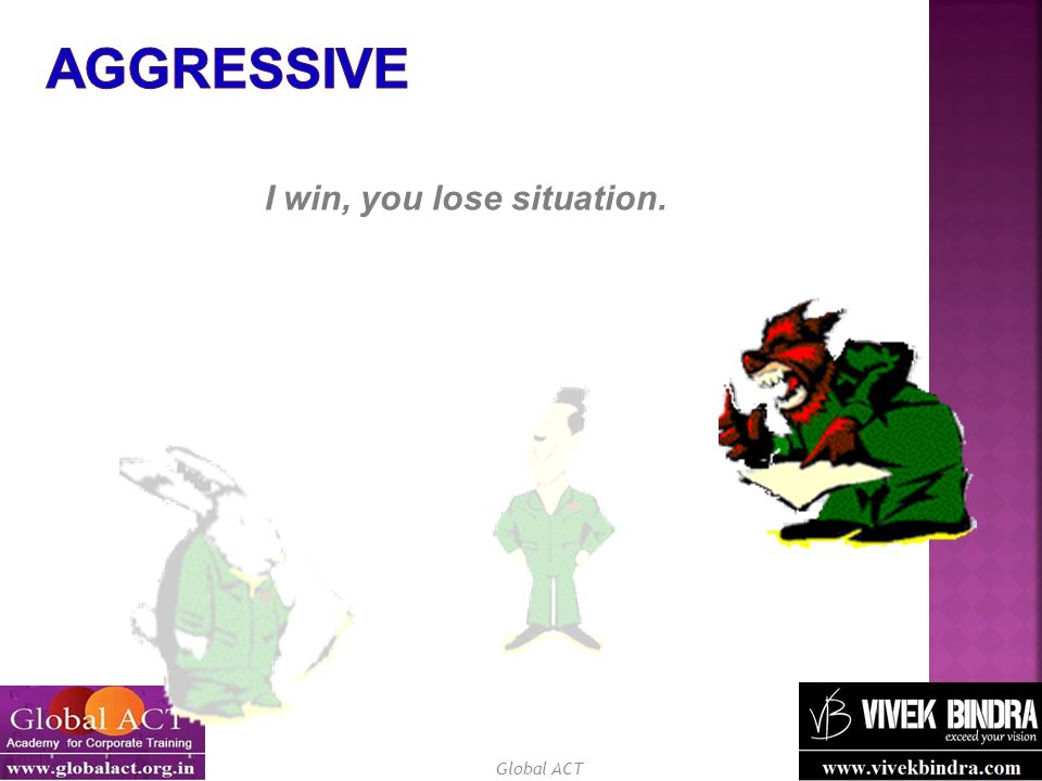 Aggressive I win, you lose situation.