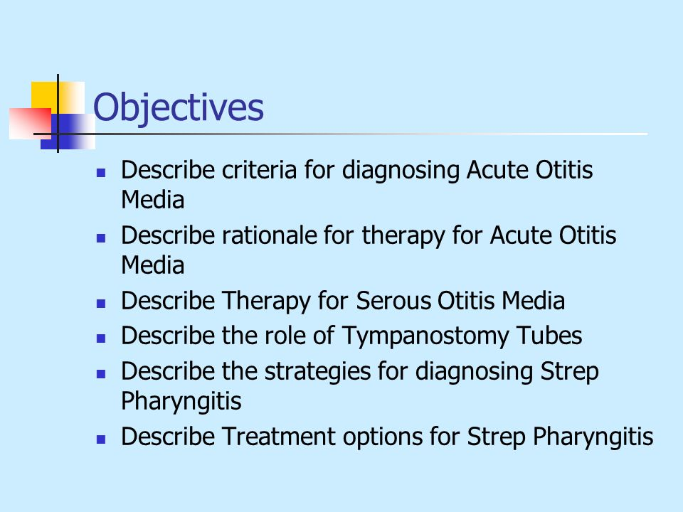 Objectives Describe criteria for diagnosing Acute Otitis Media
