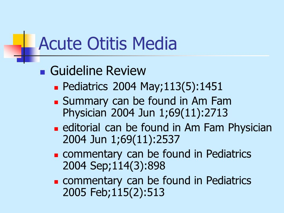 Acute Otitis Media Guideline Review Pediatrics 2004 May;113(5):1451