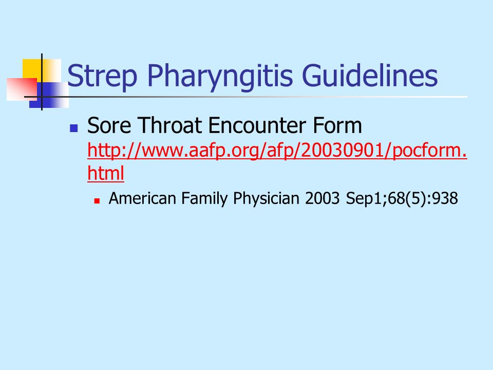 Strep Pharyngitis Guidelines