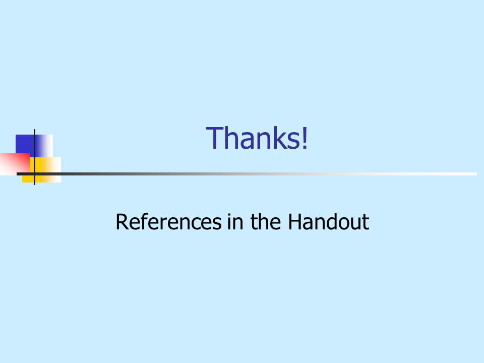 References in the Handout