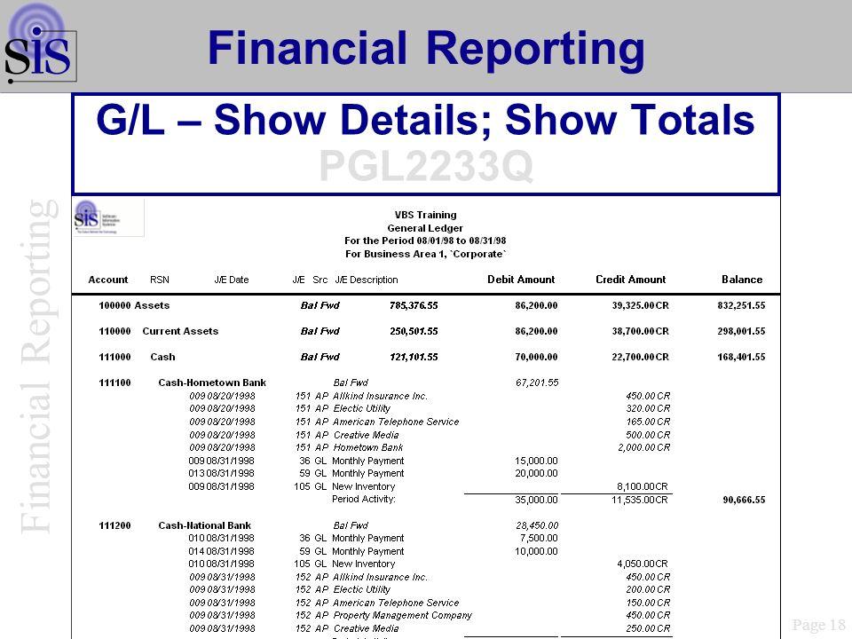 G/L – Show Details; Show Totals PGL2233Q