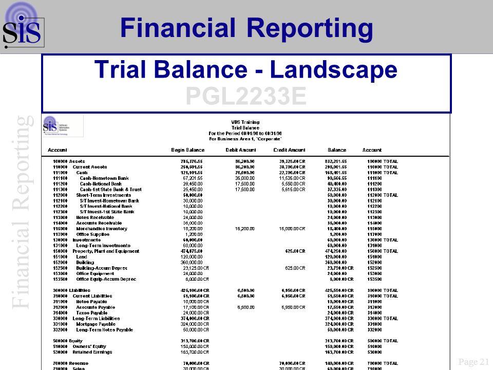 Trial Balance - Landscape PGL2233E