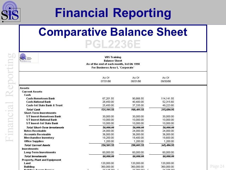 Comparative Balance Sheet PGL2236E