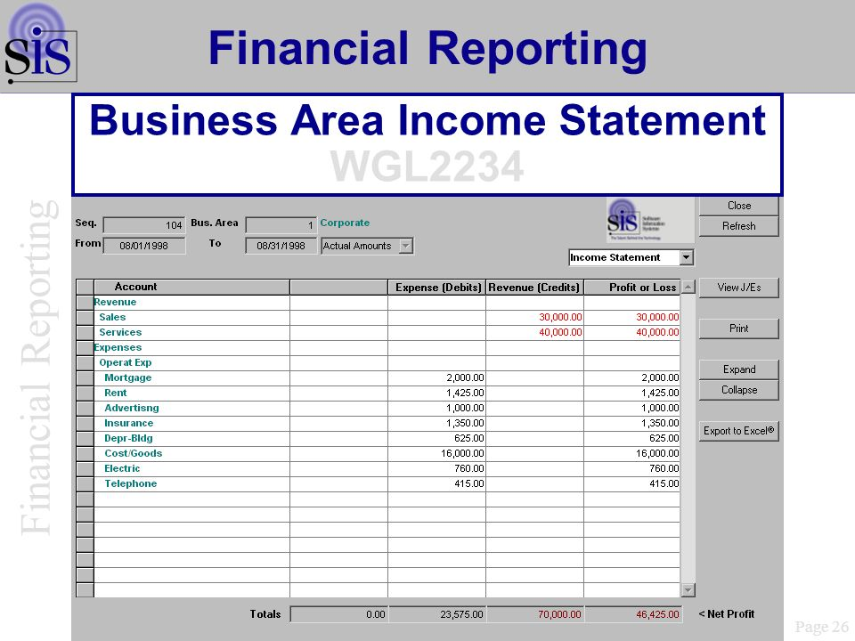 Business Area Income Statement WGL2234