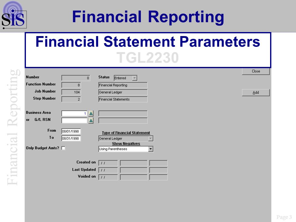 Financial Statement Parameters TGL2230