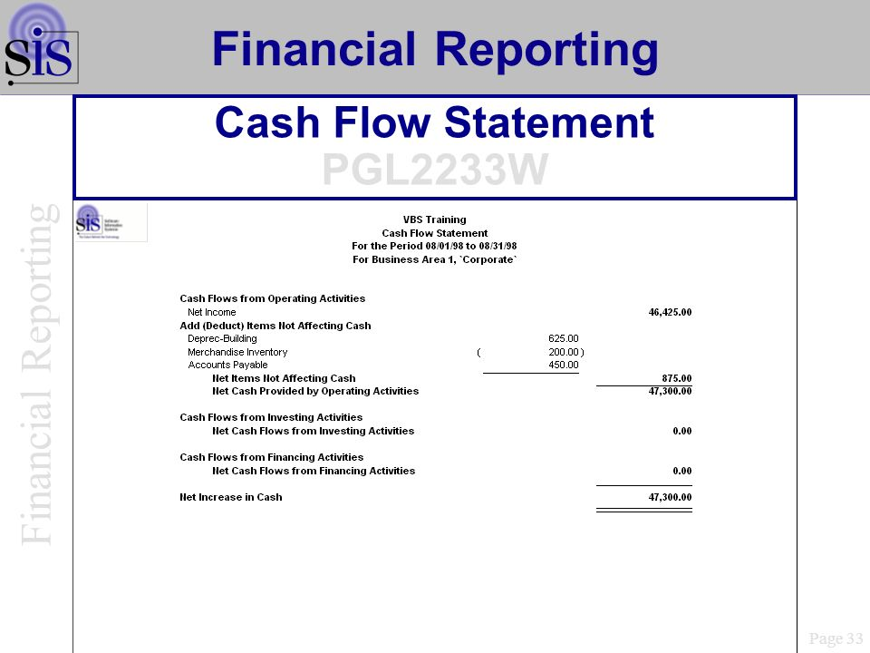 Cash Flow Statement PGL2233W