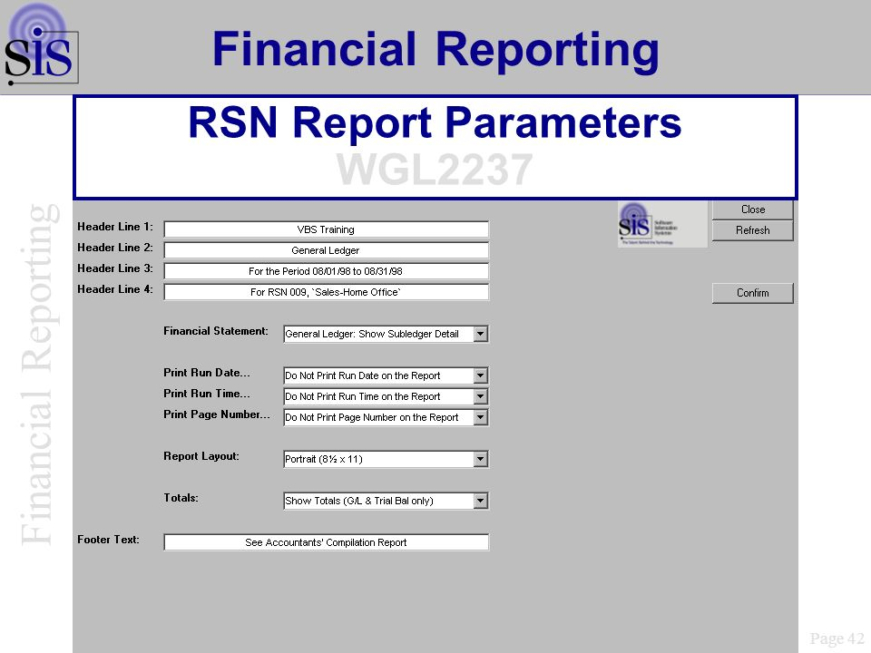RSN Report Parameters WGL2237