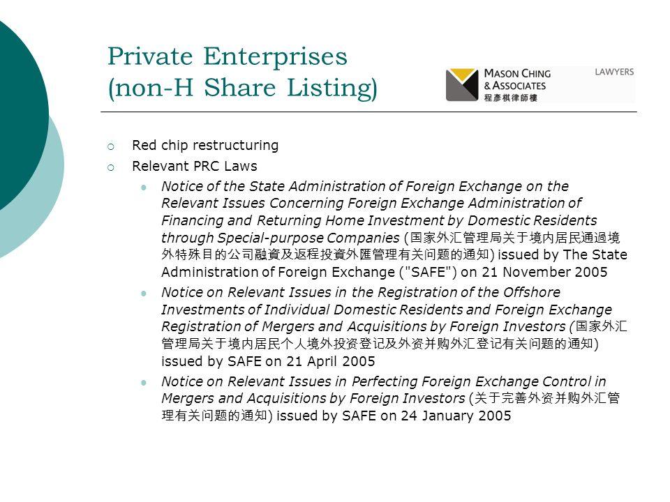 Private Enterprises (non-H Share Listing)
