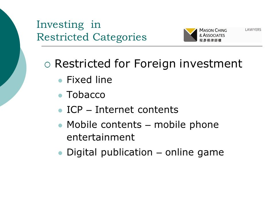 Restricted for Foreign investment