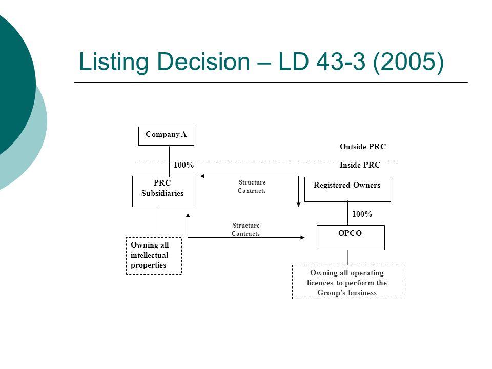 Listing Decision – LD 43-3 (2005)