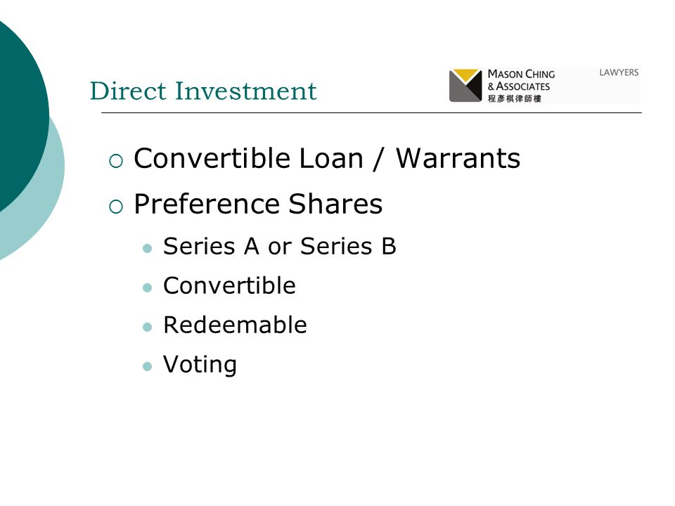 Convertible Loan / Warrants Preference Shares