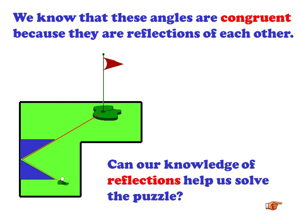 We know that these angles are congruent because they are reflections of each other.