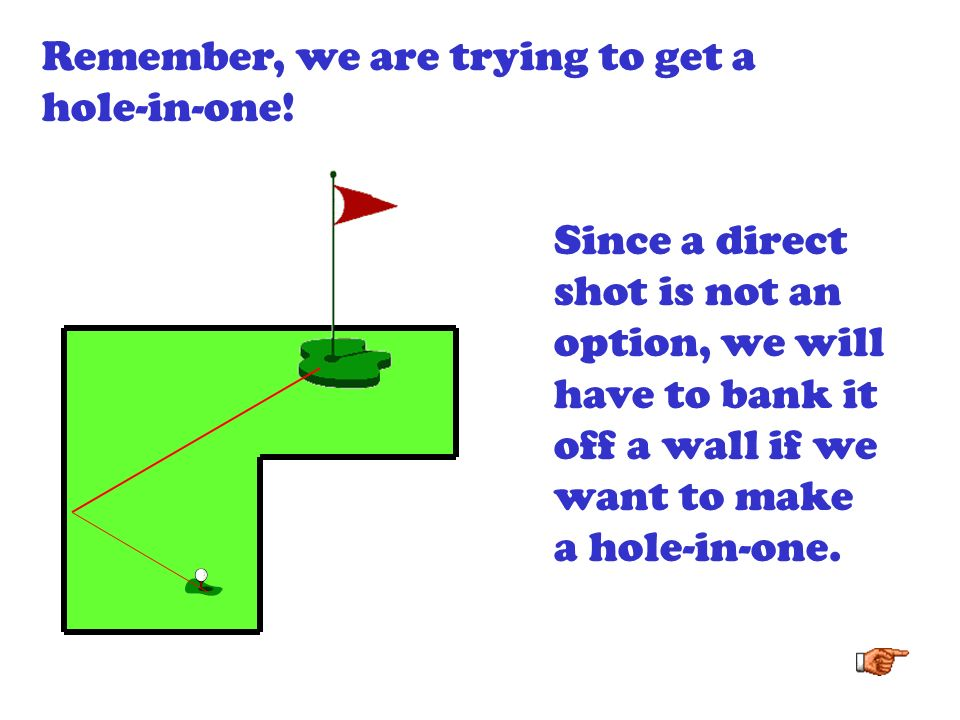 Remember, we are trying to get a hole-in-one!