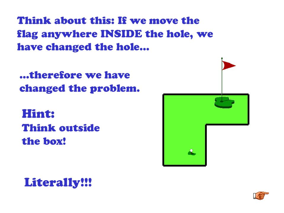 Think about this: If we move the flag anywhere INSIDE the hole, we have changed the hole…