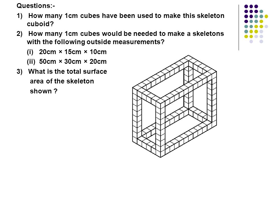 Questions:- 1) How many 1cm cubes have been used to make this skeleton cuboid