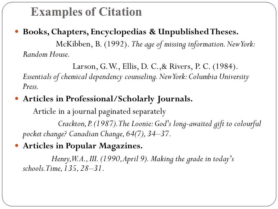 Examples of Citation Books, Chapters, Encyclopedias & Unpublished Theses.