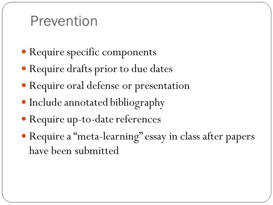 Prevention Require specific components