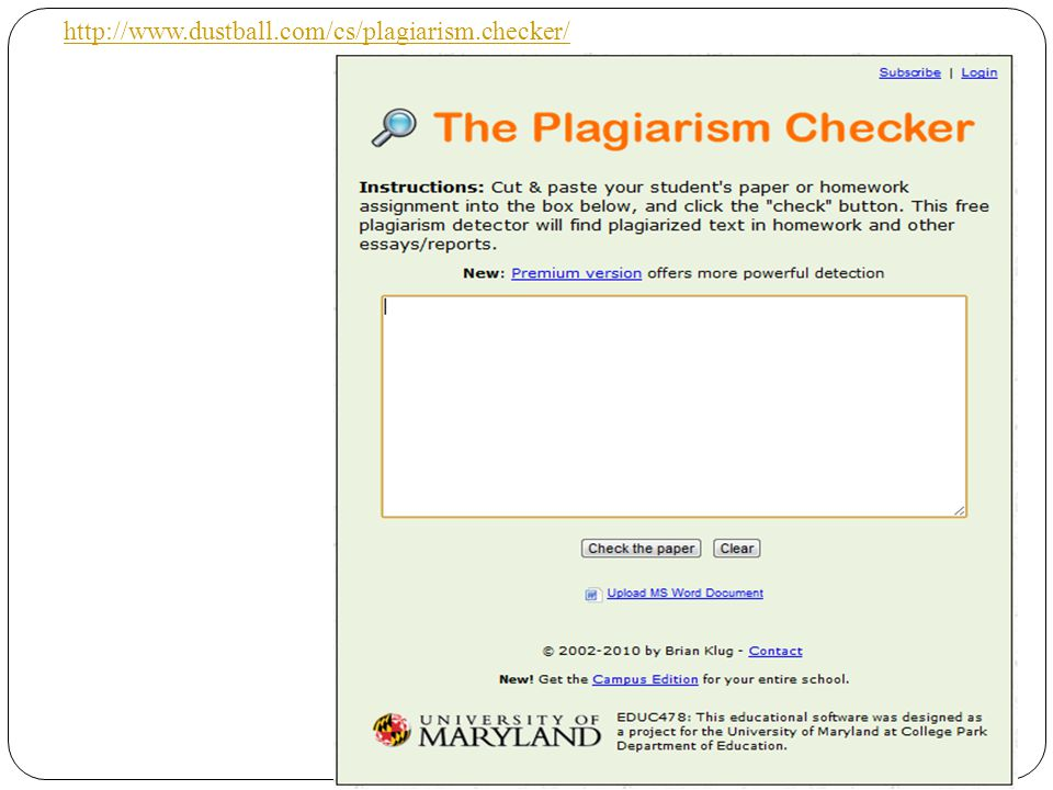 http://www.dustball.com/cs/plagiarism.checker/