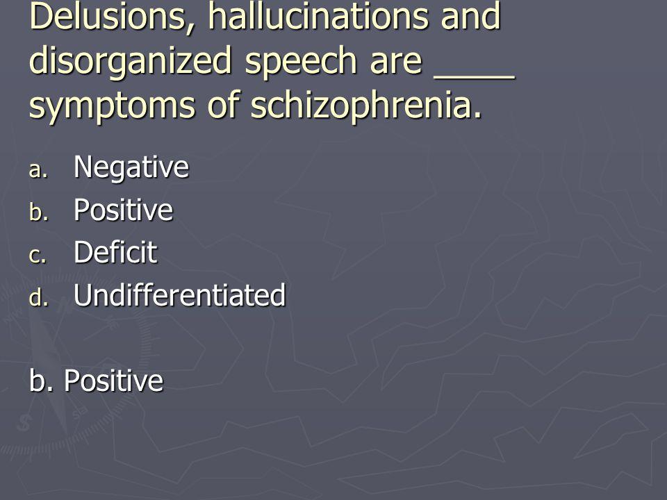 Delusions, hallucinations and disorganized speech are ____ symptoms of schizophrenia.