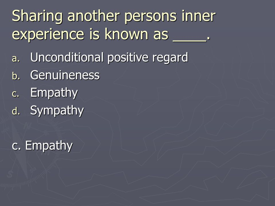 Sharing another persons inner experience is known as ____.
