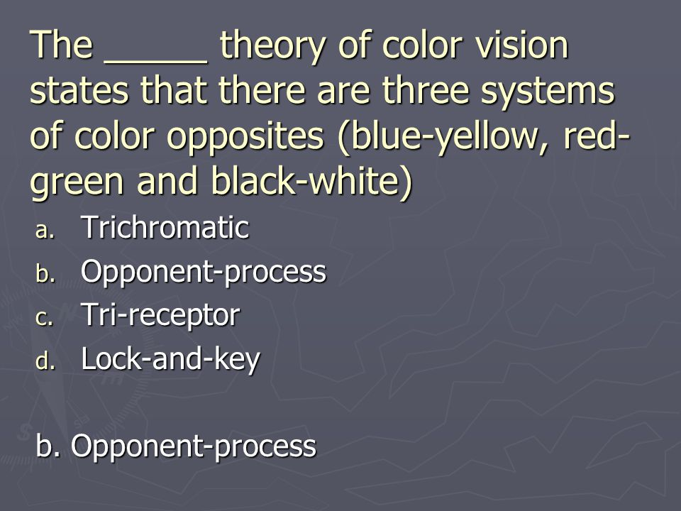 The _____ theory of color vision states that there are three systems of color opposites (blue-yellow, red-green and black-white)