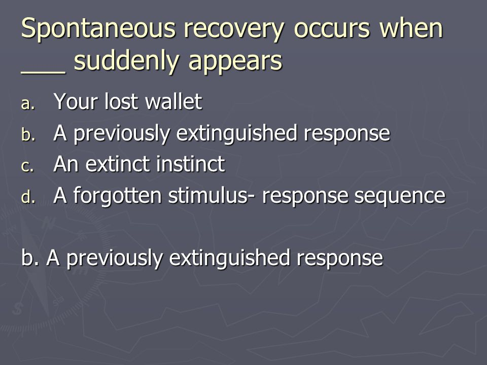 Spontaneous recovery occurs when ___ suddenly appears