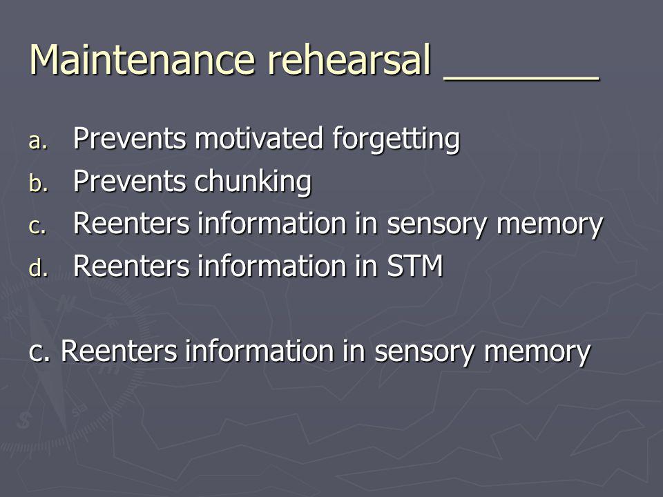 Maintenance rehearsal _______