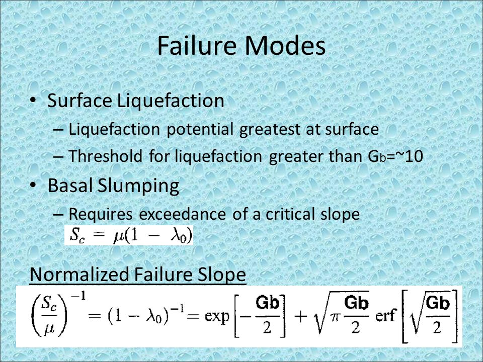 Failure Modes Surface Liquefaction Basal Slumping