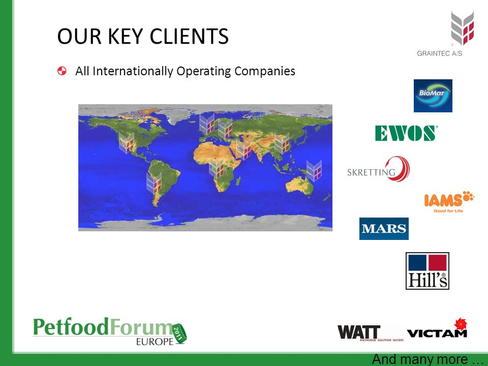 OUR KEY CLIENTS All Internationally Operating Companies