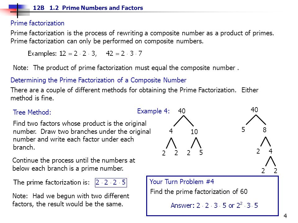 Prime factorization is the process of rewriting a composite number as a product of primes. Prime factorization can only be performed on composite numbers.