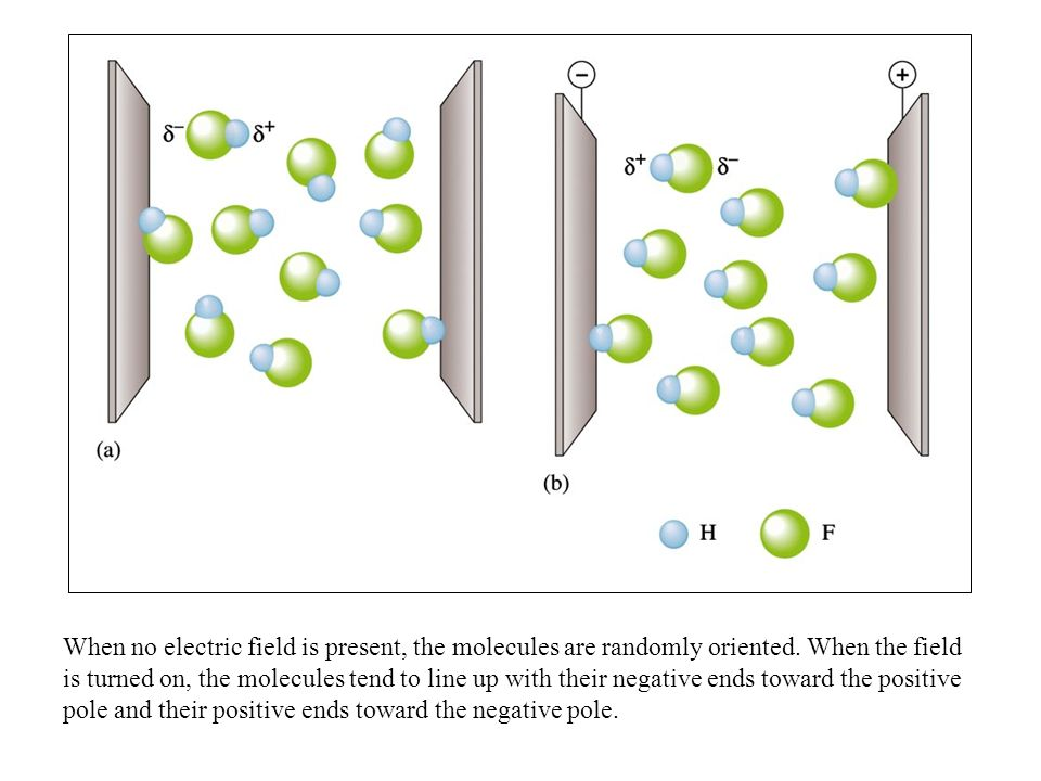When no electric field is present, the molecules are randomly oriented