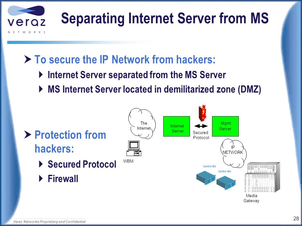 Separating Internet Server from MS