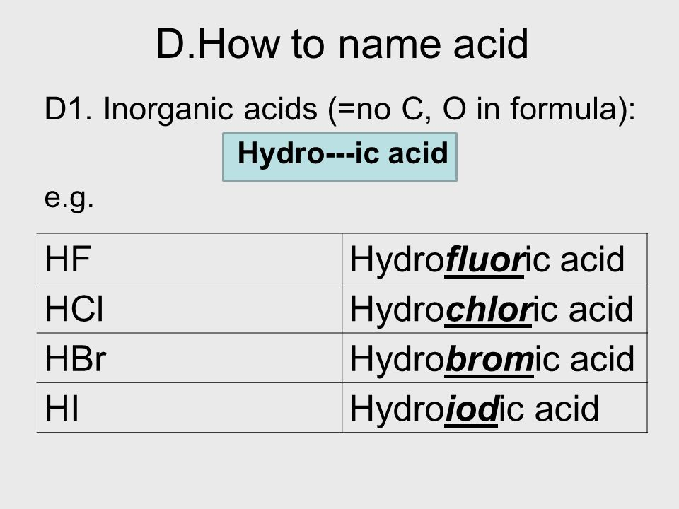 D.How to name acid HF Hydrofluoric acid HCl Hydrochloric acid HBr