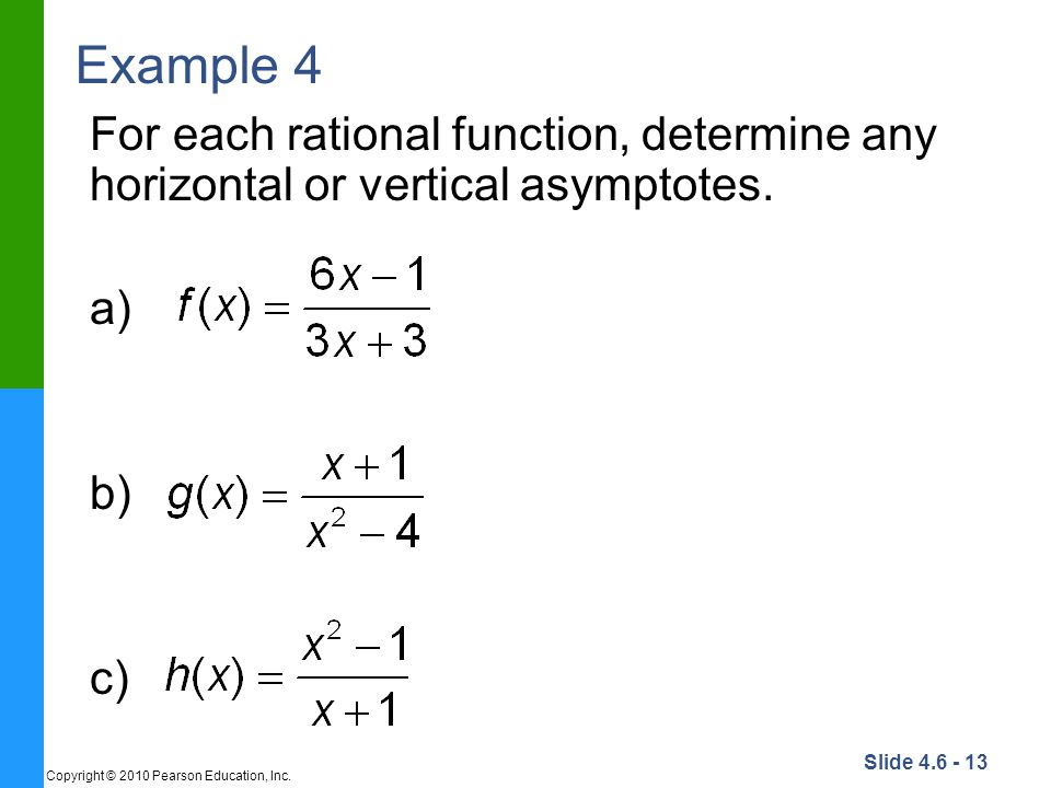 Example 4 For each rational function, determine any horizontal or vertical asymptotes.