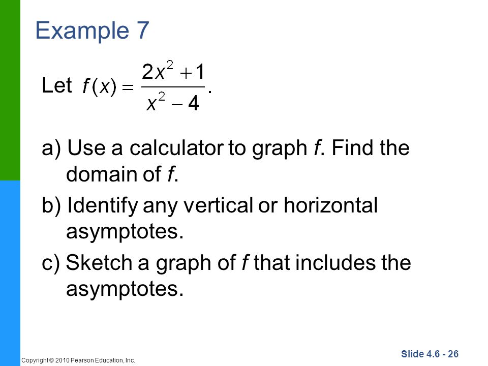 Example 7 Let a) Use a calculator to graph f. Find the domain of f.