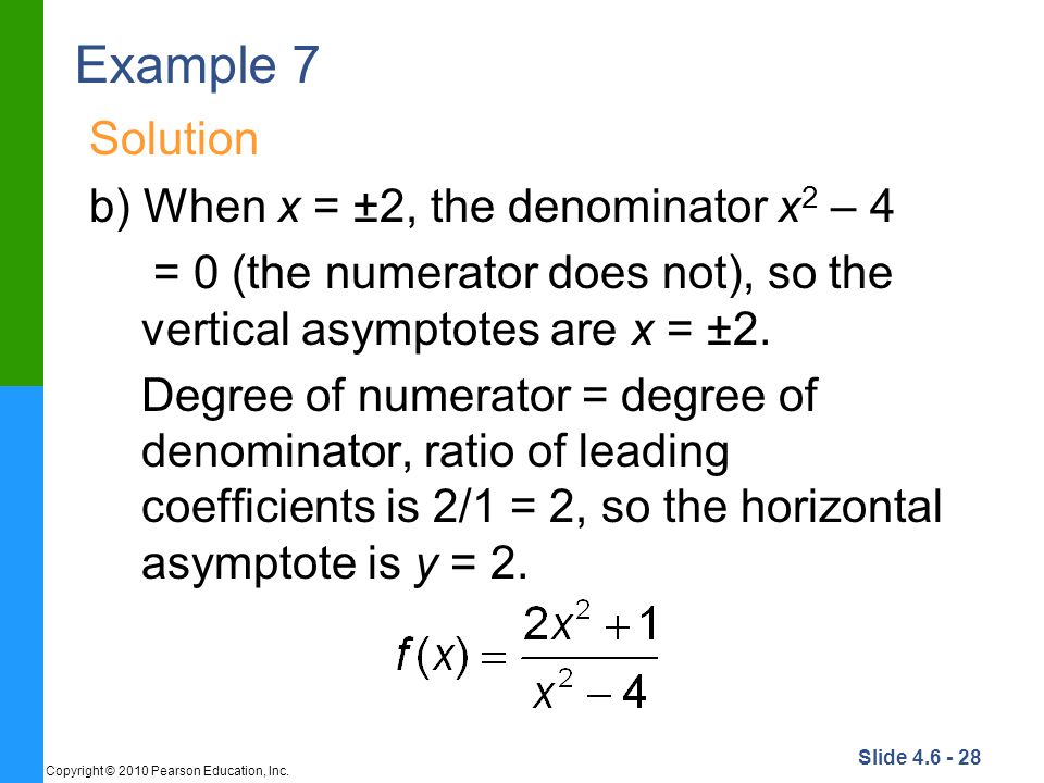 Example 7 Solution b) When x = ±2, the denominator x2 – 4