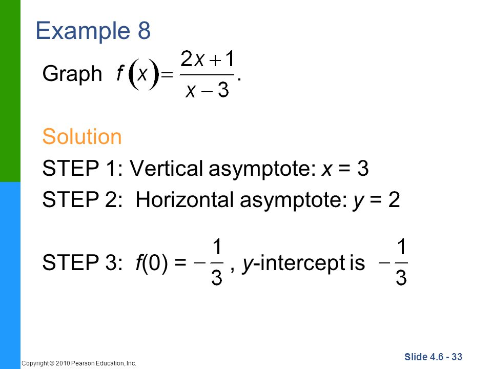 Example 8 Graph Solution STEP 1: Vertical asymptote: x = 3