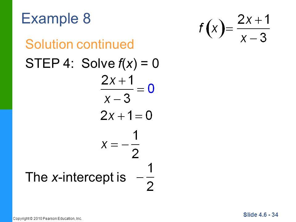 Example 8 Solution continued STEP 4: Solve f(x) = 0 The x-intercept is
