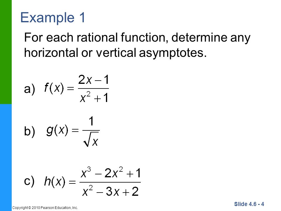 Example 1 For each rational function, determine any horizontal or vertical asymptotes.