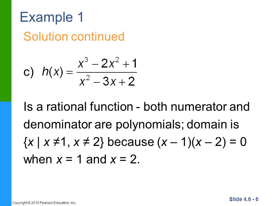 Example 1 Solution continued c)