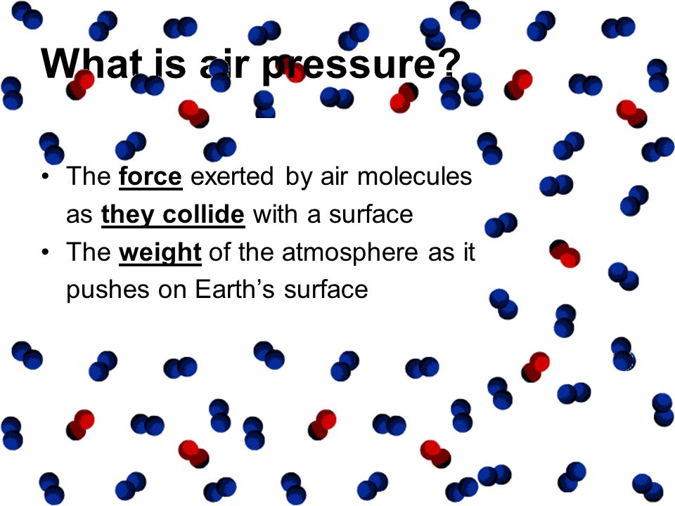 What is air pressure The force exerted by air molecules