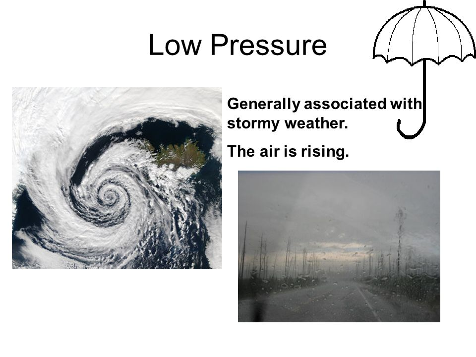 Low Pressure Generally associated with stormy weather.